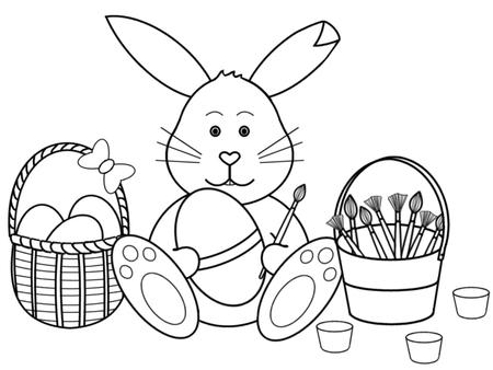 Easter Bunny Painting Eggs Black And White Cup1851081028
