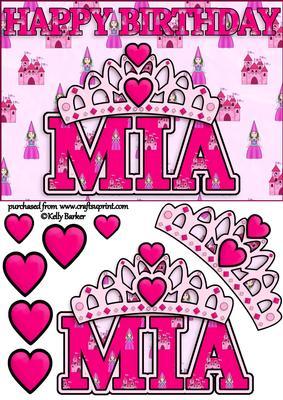 Birthday Princess A5 Name Card Amelia by Kelly Barker
