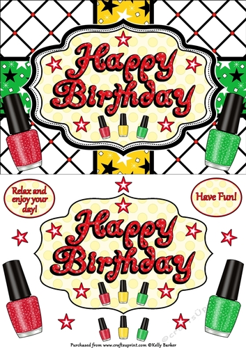 Happy Birthday Nail Polish Quick Card A5 In Red Gold And