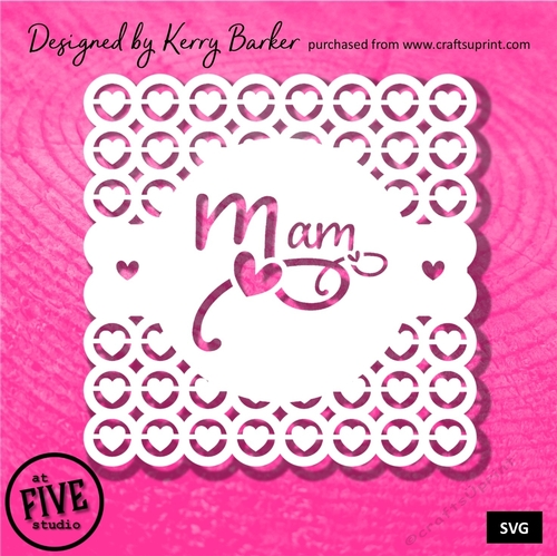 Mam Topper - Hearts in Circles Background Card Topper SVG Cutting Template