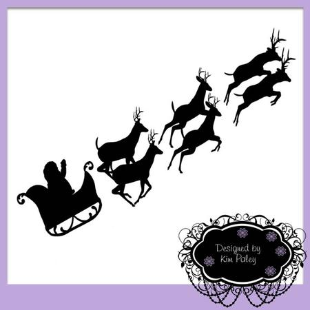 Santa in His Sleigh with Reindeers Silhouette - CUP691388 ...