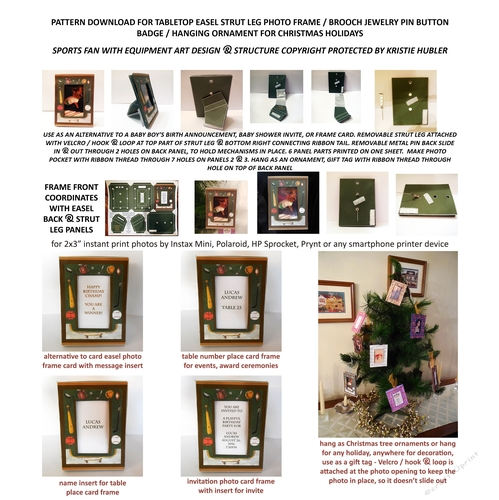 easel photo frame card brooch pin ornament kit, sports fan with equipment  design