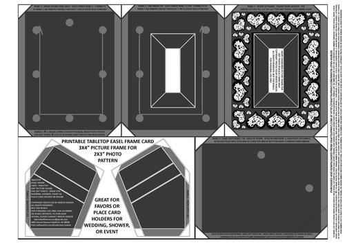 Heart Diamonds Border Black / dark gray/ white easel card frame / tabletop  3x4 inch picture frame for 2x3 inch photo sheet printable