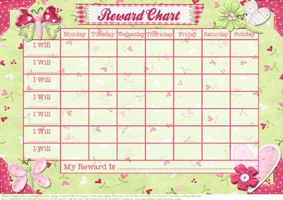 Butterfly Kisses Childs Reward Chart CUP170829614 – Reward Chart Template Printable