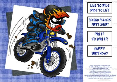 Dirt Bike Mike Offroad Motorcycle 8x8 Quick Card – Motocross Birthday Cards