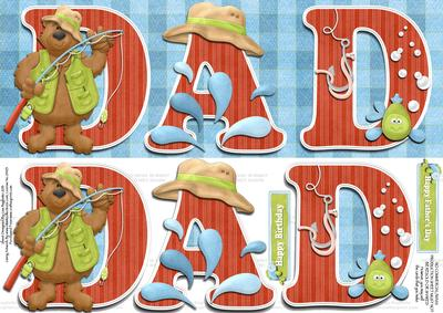 Gone Fishing Dad - Large Dl Fathers Day/birthday Card ...