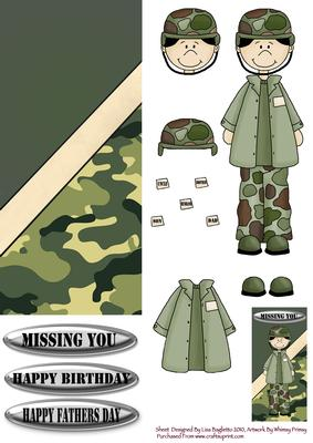 Army soldier birthdayfathers day card cup55408614 craftsuprint bookmarktalkfo Choice Image