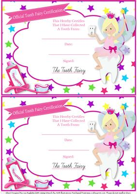 picture about Tooth Fairy Certificate Printable Girl identify Formal Enamel Fairy Certification - Blonde Fairy