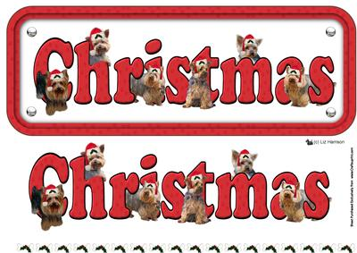 Yorkshire Terrier & Hats Christmas Name Sign 3D Decoupage ...