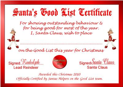 Santas good list certificate topper cup130506631 craftsuprint yelopaper Images