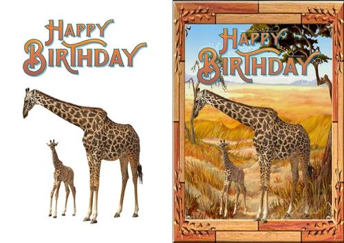 Giraffe Birthday Card Cup81228883674 Craftsuprint