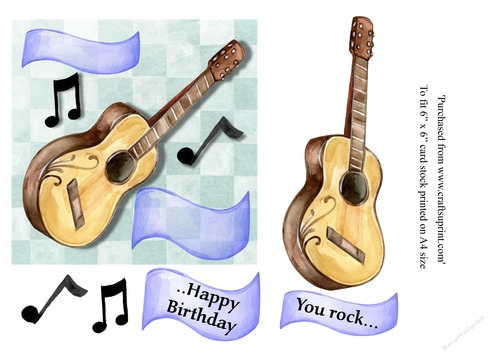 You Rock Guitar Birthday Card 6 X Topper