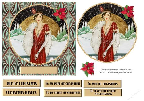Art Deco Christmas Glossy Finish Card Making Topper Crafts