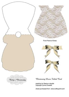 Lace Christening Dress Card. - CUP151431_866 | Craftsuprint