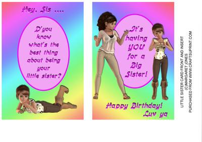 Little Sister To Big Birthday Card Front And Insert