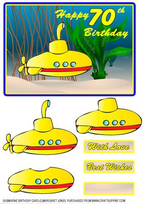 Submarine Birthday Card For 70 Yr Old