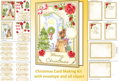 Special Single Larger MUM /& DAD Christmas Card Verse Topper /&Matching Sentiments
