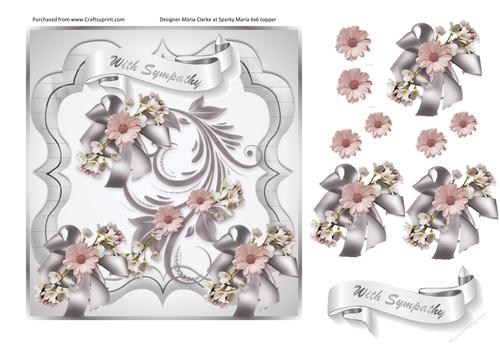 Silver In Sympathy A4 decoupage sheet 7x7