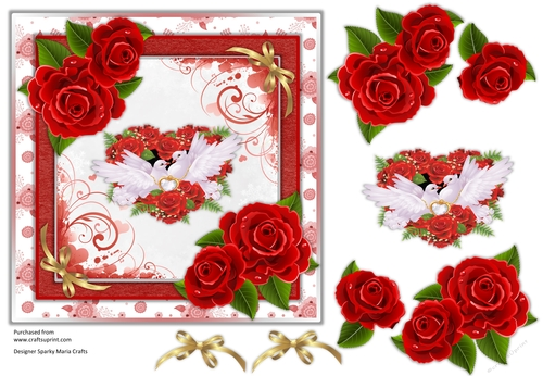 Valentines Day Card, Quick Card, decoupage sheet