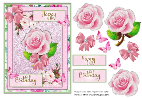 Birthday Card QUick Cards with decoupage and tags A5