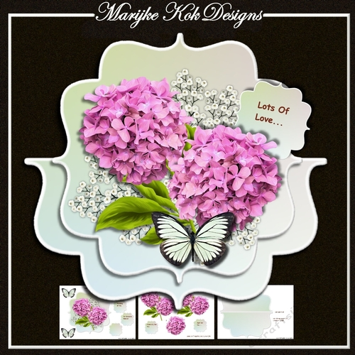 Aqua Strip Card Mini Kit - Butterfly & Roses - CUP420881