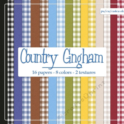 Country Colors Solids Gingham Pattern A4 Digital Paper Backgrounds Cup734088 70864 Craftsuprint