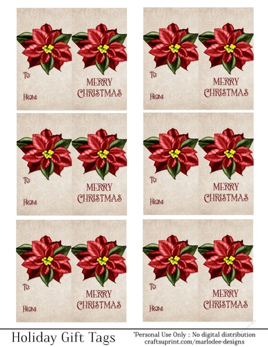 Merry Christmas Gift Tags.Merry Christmas Gift Tags Red Poinsettia Flower Folding Design