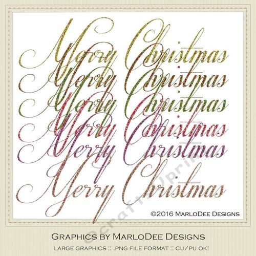 Merry Christmas Word Art Png.Beautiful Script Merry Christmas Word Art Graphics Pkg 3