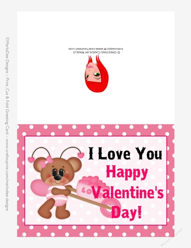 picture regarding I Love You Printable Cards referred to as I Delight in Oneself - Childrens Printable Valentines Working day 5x7 Greeting Card - Lady Endure Design and style