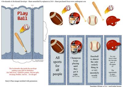 4 Bookmarks Amp Bookmark Envelope Sports Cup138728 99
