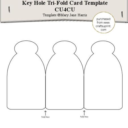 key hole tri fold card template cu4cu cup291554 99 craftsuprint. Black Bedroom Furniture Sets. Home Design Ideas
