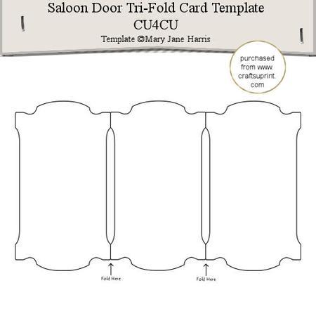 saloon door tri fold card template 1 cu4cu cup291565. Black Bedroom Furniture Sets. Home Design Ideas