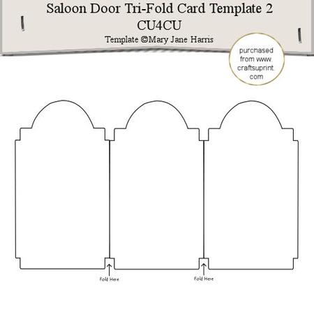 Saloon Door TriFold Card Template   CuCu  Cup