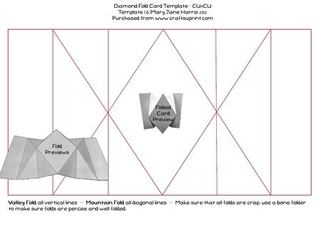 diamond fold card template cu4cu cup348890 99 craftsuprint