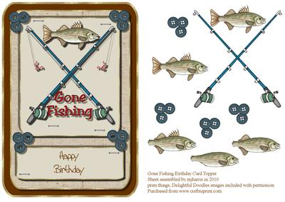 Gone Fishing Birthday Card Topper CUP8760299 – Fish Birthday Cards