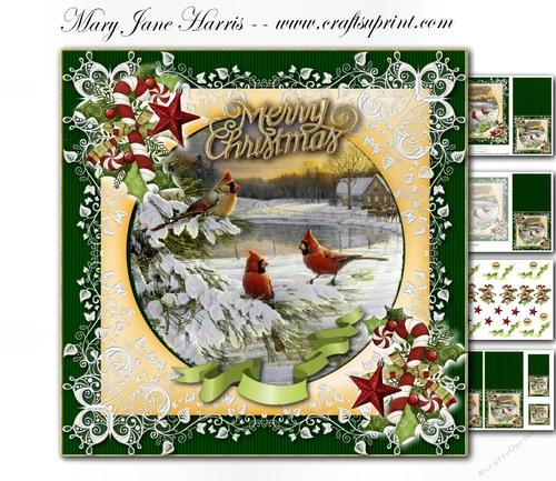 Christmas Cardinals Images.Christmas Cardinals Mini Kit