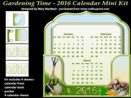 Gardening time 2016 stand up calendar mini kit for Gardening 2016 calendar
