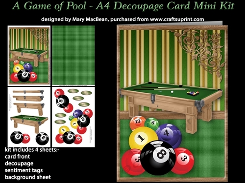 A Game Of Pool A4 Decoupage Card Mini Kit Cup740574