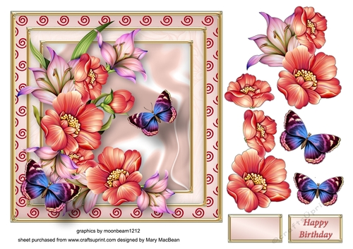 Flowers and Butterflies Decoupage Card Front
