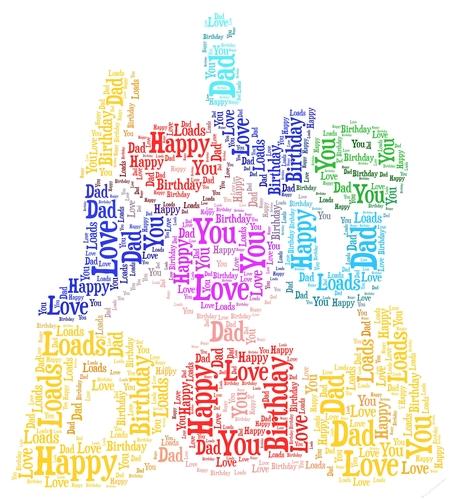 i love you dad happy birthday word art