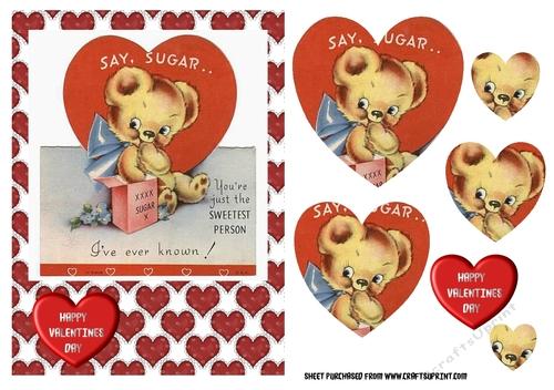 Cute bear vintage retro valentines day card heart pyramage