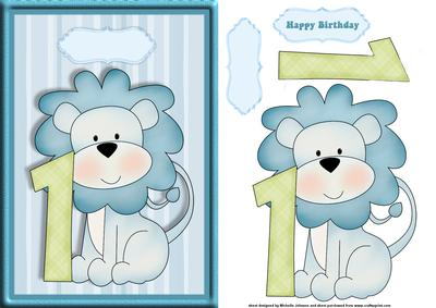 Boys 1st Birthday Lion Card Front With Decoupage