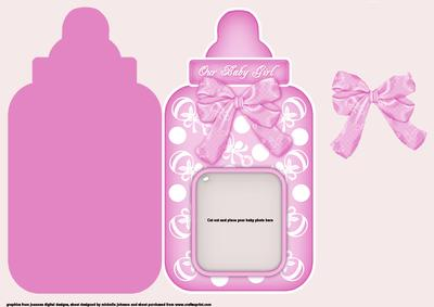 photo baby girl bottle shaped card cup53038 376 craftsuprint