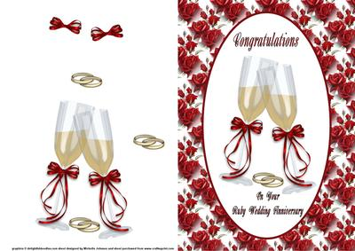 Congratulations Ruby Wedding Anniversary Card Front