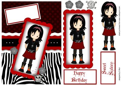 Emo or Goth Girl Birthday Card in Red and Black CUP3442541789 – Emo Birthday Cards
