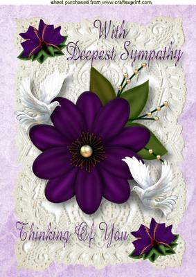 Sympathy Card With Purple Flower Amp Doves A4 Cup220177