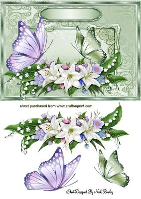 Flowers And Butterflies In Ornate Frame Cup529879 415