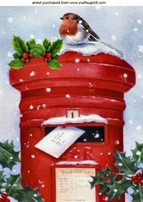 Letter Box With Snow Amp Holly With Little Robin A4