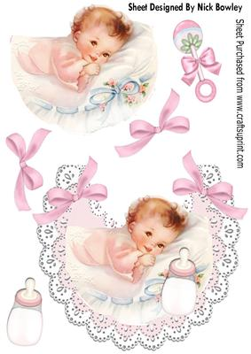 Sweet Baby Girl with Her Bottle on a Lace Bib - CUP626788 ...