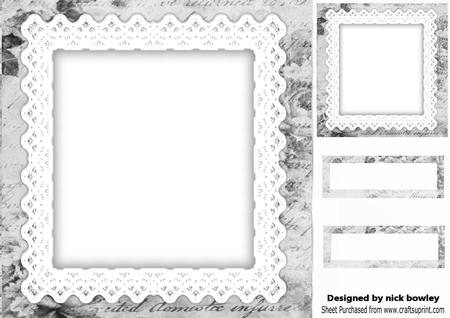 Silver Rose Calligraphy and Lace Frames, Topper and Tags 8x8 ...